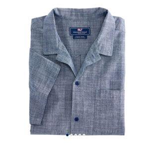 Vinyard Vines Shrt Sleeve Cabana Collar Blue Shirt